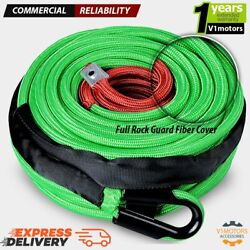 95and039 X 3/8 22000 Lb Synthetic Winch Line Cable Rope Green W/ Protective Fiber