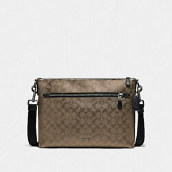 COACH GRAHAM SOFT MESSENGER IN SIGNATURE CANVAS STYLE F78722 TAN BLACK NEW $139.00