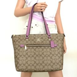 New Coach Signature Gallery Canvas Leather Tote Bag 79609 Khaki Lilac Berry $139.00