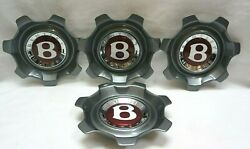 Set Of 4 Bentley Continental 21 Inch Flying Spur 7 Spoke Center Caps-3w0601171ae