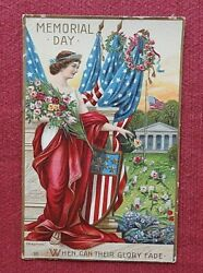 1909 When Can Their Glory Fade Memorial Day Flag Dress Embossed Postcard