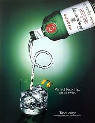 1993 Tanqueray Gin Bottle Pouring A Back Flip With A Twist Photo Promo Print Ad