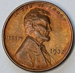 Nice 1932 - P - Us Lincoln Wheat Cent Unc Semi Key Date Red Brown Toning Q282