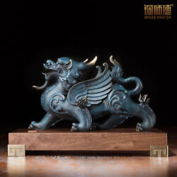 China Royal Fengshui Kylin Qilin Statue Bronze Painted Dragon Beast Sculpture
