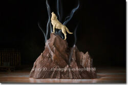 China Pure Bronze Roaring Wolf Stand On The Top Incense Burner Art Sculpture