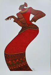 Charles Bibbs Lady In Red Limited Ed. Print Sold Out