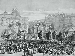 India The Viceroy Of India Arrives In Jeypore Original Victorian Print 1871
