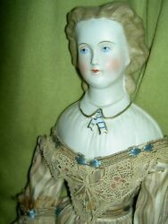 Rare Antique 16 Parian Dresden Lady Doll Molded Blouse Ascot Snood Excellent