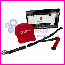 Genuine Porsche Motorsport Collection Red Cap Lanyard And License Plate Frame