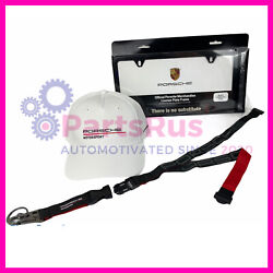 Genuine Porsche Motorsport Collection White Cap Lanyard And License Plate Frame