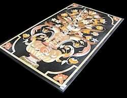 4'x2' Black Marble Dining Table Top Floral Marquetry Inlay Furniture Decors E892