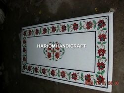 4'x2' White Marble Table Top Carnelian Floral Mosaic Inlay Collectible Arts E356