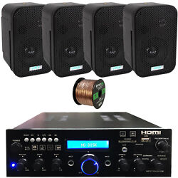 Pyle Pda9hbu Bluetooth Home Amplifier Receiver 4x 3.5 Black Speakers Wire