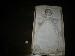 Vintage 1985 Department 56 Baby's 1st Christmas Porcelain Doll Clip-on Ornament