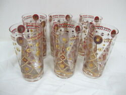 Vintage Atomic Fred Press Tumblers Christmas Trees And Stars