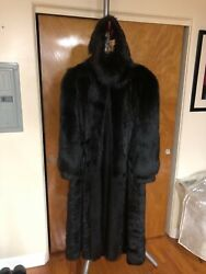 Tailored Cherrymahogany Full Length Mink Fur Coat Size 14 With Matching Head Ban
