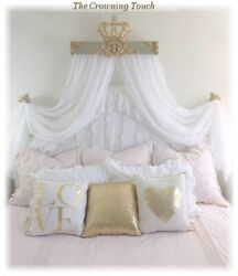 30 Gold Champagne Bed Crown Canopy Teester Queen/king Bed With Free Sheers