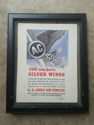 Original 1940s Ww2 Air Corps Enlisted Reserve Recruit Poster / Small Framed