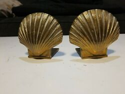 Vintage Solid Brass Scalloped Clam Sea Shell Bookends Z29
