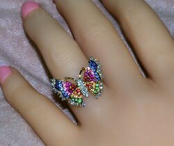 18k Lacy Diamond Multi Rainbow Sapphire Ruby Color Filigree Butterfly Ring
