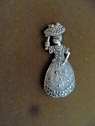 925 Marcasite Silver Ethnic Lady With Basket Of Fruit To Her Head Brooch