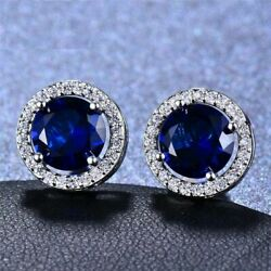 3ct Round Blue Sapphire Push Back Halo Stud Earrings Solid 14k White Gold Finish