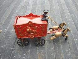 Vintage Cast Iron Toy Circus Wagon Horses And Driver. And The Back Door Opens