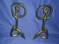 Vtg Frederick Weinberg 50and039s Free-form Dancing Brass Sculpture Mid Century Signed