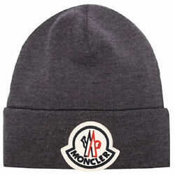 Moncler Grenoble Menand039s Gray Round Logo Patch Wool Beanie Hat