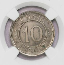 Ngc-ms63 1881 Newcaledon 10cents Bruce-xtn2 Copper-nickle Rare Type Bu