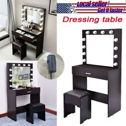🔥 Small Dressing Table Desk With 3w 12 Led Lights Half-packed Mirror+stool