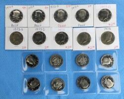 1973 Kennedy Half Dollars, 3 P-mint, 3 D-mint And 12 S-mint Proofs, 18 Clad Coins