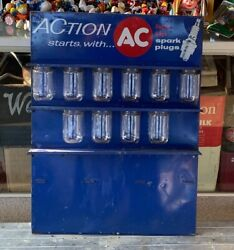 Vintage 1950's Action Spark Plug Display With Glass Cups 24 X 18 Sign