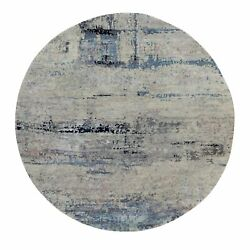 8and039x8and039 Silver Blue Wool And Silk Modern Abstract Design Hand Knotted Rug R58882