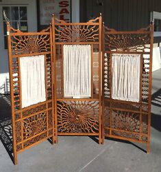 Late Victorian Stick And Ball 3 Panel Screen With Fabric Inserts