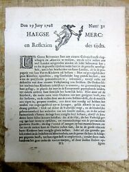 Rare 1708 The Hague Netherlands Newspaper France Sends Colonists To America