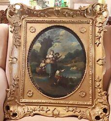 Antique Oval Oil Painting On Heavy Tin Unsigned 18th - 19th Century