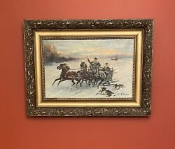 Vintage Oil Painting By J.m.kasprowicz Troika Sleigh Ride Winter Hunting Poland