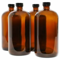 32oz Amber Glass Bottles With Black Caps Perfect For Essential Oils 4 Pack