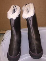 Aetrex Brownberry Brownfurry Waterproof Flat Midcalf Boots 7.5b