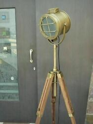 Antique Spot Light Searchlight With Wooden Tripod Stand Studio Lamp Lights