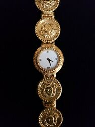 Gianni Versace Signature G10 Gold-plated Coin Watch, Medusa Head, Vintage Swiss
