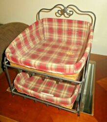 Longaberger Wrought Iron Paper Tray Stand, Baskets, Orchard Park Plaid Liners ++
