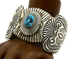 Navajo Bracelet .925 Silver Blue Turquoise Signed Ahasteen C.80and039s