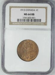 1913 Canada Penny Cent 1c Ngc Certified Ms 64 Mint State Red Brown Rb 021