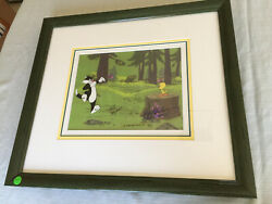 Tweety And Sylvester Original Cel Signed By Blanc Freleng And Ross Framed W/coa