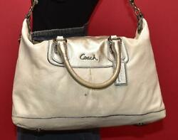 COACH Sabrina ASHLEY Silver Off White Leather Satchel Purse Shoulder Bag F15447 $38.99