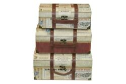 Punch Studio Large Nesting Luggage Trunks 3pc Set 47268n French, Discontinued