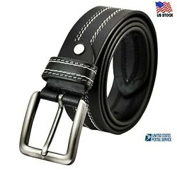 100% Genuine Leather Mens Casual Dress Jeans Belt Buckle Black Brown US Stock $19.90