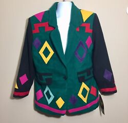 Vintage 80andrsquos Nwt Old Stock Colorful Geometric Wool Blend Boxy Blazer Jacket